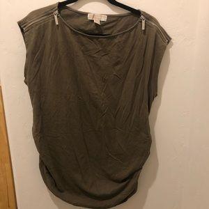 Michael Kors Olive Sleeveless Zipper Detail 1X